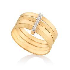 Anel em ouro amarelo 18k e 1,5 pts de diamantes - Coleção Gold