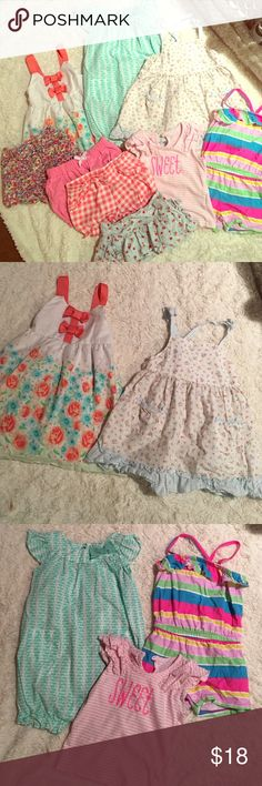Baby girl lot bundle of 9 - 12- 18 mo 9 piece- 12-18 month bundle little girls. Includes: place floral jean shorts (12-18 mo), Gymboree strawberry skorts (12-18mo), okie dokie diaper cover shorts plaid (18 mo), pink circle diaper cover shorts (18 mo), toughskins sequin striped t shirt (18 mo), Circo jumper (18 mo), carters whales bloomer 1 piece (18mo), Gymboree prairie dress (12-18 mo), Penelope dress (18 mo). All used and in great condition. Some not even worn. Jean shorts and cherry skirt…