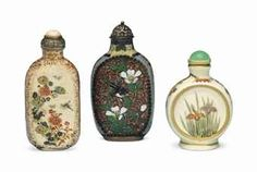 TWO JAPANESE SATSUMA SNUFF BOTTLES AND A CHINESE CLOISONNÉ ENAMEL SNUFF http://www.christies.comBOTTLE  1780-1950