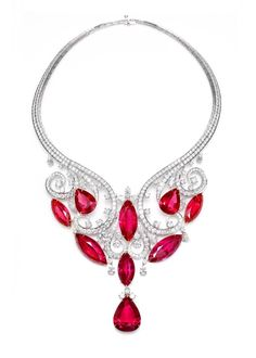 Since Harry Winston has transformed diamonds into art and revolutionized modern jewelry and watch design. Visit the official Harry Winston website. Ruby Necklace, Ruby Jewelry, I Love Jewelry, Gems Jewelry, Jewelry Accessories, Fine Jewelry, Jewelry Design, Diamond Necklaces, Jewlery