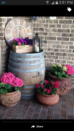 Wine barrel on porch... maybe something to do with the wine barrel I picked up at the dump?