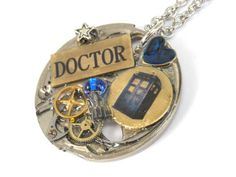 Doctor Who Necklace Steampunk Doctor Who by TimeMachineJewelry