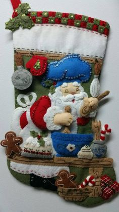 18 Completed Hand Sewn Bucilla Christmas by StacysStampinSpot Felt Christmas, Christmas Themes, Christmas Stockings, Christmas Holidays, Christmas Crafts, Christmas Ornaments, Holiday Decor, Felt Stocking, Stocking Tree