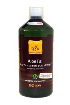 Jugo de aloe Tai, aloe vera de la empresa Benessence, en varios sabores, la empresa es de origen Italiano. Sin gluten, vegano, posee el sello de certificación de cultivo ecológico europeo. Gel hecho de la pulpa íntegramente.