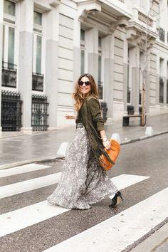 Long skirt in rainy Madrid