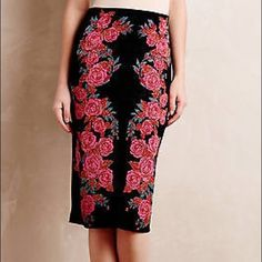 Anthropologie Ekaterina Kukhareva Rose Skirt Worn once and perfect for any romantic date night Anghropologie EK Rose skirt size medium.  Perfect for Valentine's Day! Anthropologie Skirts