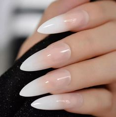 Ombre Extra Long French Nail Extreme Stiletto Sharp Gradient Nude White 24 Fake Nails Acrylic Nails Wholesale Manicure Tips May 2019