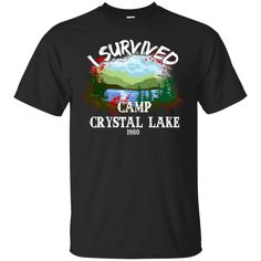 Halloween T shirts I Survived Camp Crystal Lake Hoodies Sweatshirts
