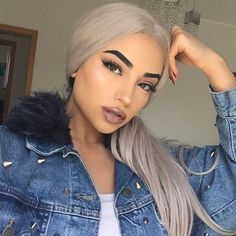 Ash platinum blonde lace front long curly grey white wig for women anime cosplay, party, everyday wigs 24 in hair heat resistant Blonde Wig, Blonde Ombre, Copper Blonde, Short Blonde, Ash Blonde, Smokey Blue Hair, Frontal Hairstyles, Bun Hairstyles, Lace Hair