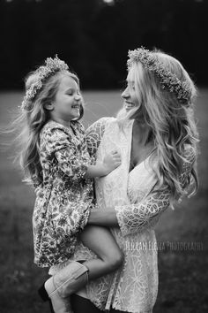 Mother + Daughter - Family Photos - North Central Florida Photographer - Jillian Elena Photography #family #familyphotos #portait #photography #photographer #bw #blackandwhite #country #southern #sweet #romper #flowercrown #blonde #smile #happy