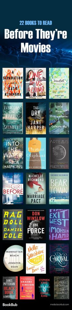 22 Brand-New Books That Already Have Movie Deals Reading list: books to read before they're movies, including a mix of thrillers, books for women, teen books, and more to read in 2017 or to read in Books And Tea, Book Club Books, I Love Books, New Books, Good Books, Books To Read, Book Clubs, Book Suggestions, Book Recommendations