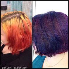 Quite the color correction!! Kristin transformed this clients hair from a few inches of regrowth, bright yellow & orange, to a perfectly balanced dimensional plum, without sacrificing the hair's integrity! If you know color theory- you know that takes serious skill! #salonheadcandy #colorcorrection #makeover #magician #wellahair