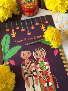 illustrated wedding invitations, cute indian wedding invitations, indian wedding…
