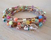 """Uncinetto colorato wrap bracciale collana """"Lil ' arcobaleno Splash"""" Multi colorate, thailandese argento fiore, colorato quotidiana malandato boho chic"""
