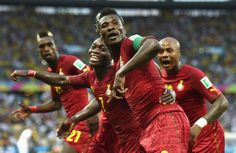 Ghana Ties Germany 2-2 Tie In World Cup Thriller, Continues To Do U.S. No Favors FORTALEZA, BRAZIL - JUNE 21: Asamoah Gyan of Ghana celebrates scoring his team's second goal during the 2014 FIFA World Cup Brazil Group G match between Germany and Ghana at Castelao on June 21, 2014 in Fortaleza, Brazil. (Photo by Laurence Griffiths/Getty Images)