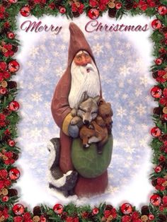 Original-hand-carved-Santa-with-wolf-bear-fox-and-skunk-by-Susan-M-Smith