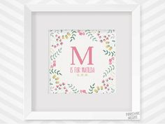 Stitch this easy, fully customizable floral birth announcement sampler. Give as a new baby girl shower, house warming or anniversary gift or