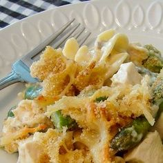 Asparagus and Chicken Noodle Casserole -- This was really good and SO easy to make. I had everything on hand I think it would be good with Brocolli too.