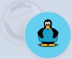 Máš smysl pro humor? Odznáček s modrým tučňákem.