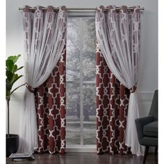 Shop ATI Home Alegra Thermal Woven Blackout Grommet Top Curtain Panel Pair - On Sale - Free Shipping Today - Overstock - 18590736 Home Curtains, Grommet Curtains, Window Curtains, Curtains Living, Modern Curtains, Sheer Curtains, Drapery Panels, Curtain Length, Houses
