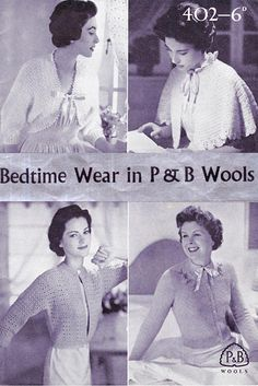 PDF Vintage 1940s Ladies Womens Bed Jacket Cape Knitting