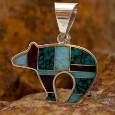 David Rosales Shalako Inlaid Sterling Silver Pendant - $252.  Bev would love this!