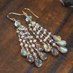 Blue Topaz, Ethiopian Opal, Sleeping Beauty Turquoise, Labradorite gemstone cluster earrings 14k gold filled hooks ... AMARIS Earrings