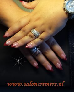 almond shape nails  red pencil French manicure