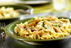 Easy Chicken Stroganoff - This one-skillet chicken dish features a creamy mushroom sauce and a whole lot of flavor. It's comfort food that's ready to serve in just 45 minutes. I made it without the onions and mushrooms and it was delicious! Easy Chicken Stroganoff Recipe, Beef Stroganoff, Pasta Dishes, Food Dishes, Main Dishes, Dinner Dishes, Campbells Recipes, Campbells Sauces, Cream Of Chicken Soup