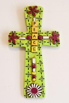 Peace Wooden Cross in Green