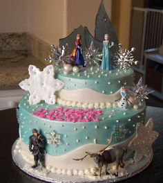 frozen theme cake | Disney's Frozen Themed Happy Birthday Cake