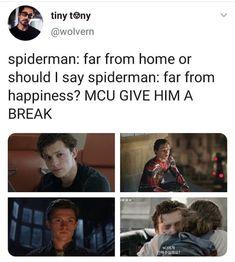 Spiderman Far From Home - Tom Holland (Peter Parker) Marvel Funny, Marvel Avengers, Marvel Comics, Marvel Actors, Avengers Memes, Marvel Memes, Marvel Quotes, Tom Holland Peter Parker, Dc Memes