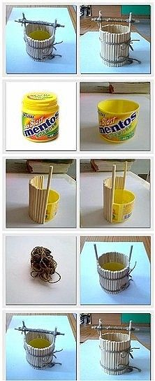This is a really easy & interesting recycled craft piece I found using an old plastic container & other inexpensive materials to create a cute little bucket well.   If I find the instructions, I will post the link.  Enjoy!