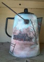 Hand Painted Coffee Pot by GoGetEtched on Etsy, $45.00