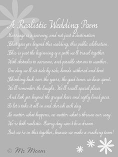 realistic wedding poem ms moem @MsMoem aka Amy @iwantapoem