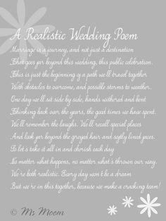 realistic wedding poem ms moem @MsMoem aka Amy @iwantapoem