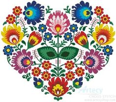 Polish Folk Heart cross stitch pattern.