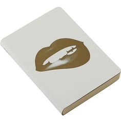 Nuuna Glossy Lips Leather Notebook - Gold ($28) ❤ liked on Polyvore featuring home, home decor, stationery and metallic