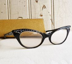 02cb887c8a6 Vintage Black Cat Eye Glasses with Rhinestones - With Original Case -  Women s Eyeglasses - Mid-Century 1950s