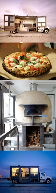 Tailgating - Four views in this traveling pizza truck, located in San Francisco, serves rustic Neapolitan style pizzas made in an impressive  traditional wood-fired pizza oven. Its Margherita is one of the most popular versions of a Neapolitan style pizza.
