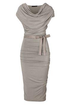Chiffon Glamorous Gray Hemp Draped Jersey Dress with Belt  Mother Of The Bride Dress