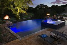 Negative edge pool with zero edge spa