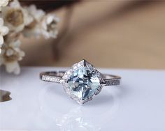 7mm Cushion Aquamarine Ring Solid 14K White Gold by JulianStudio