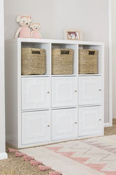 Easy DIY Applique IKEA Kallax Hack. Transform your basic IKEA furniture into a high-end piece of furniture in just a few steps! IKEA Cubby Hack. IKEA Hacks. DIY IKEA Projects. Kids Playroom DIY Projects. Playroom Storage Ideas. #ikea #playroom #diyproject #kids