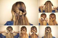 бантик на волосах, прическа, волосы, нежная прическа, прическа на каждый день