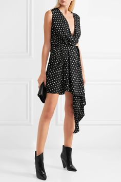 Black and white crepe de chine Concealed button fastening at front viscose; lining: silk Dry clean Made in France Saint Laurent, Black Print, Mini, Dress Outfits, Short Dresses, Polka Dots, How To Wear, Clothes, Dot Dress