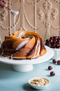 Cherry Bakewell Bundt Cake Recipe for Dessert Sweet Recipes, Cake Recipes, Dessert Recipes, Bakewell Tart, Cherry Desserts, Cake Mixture, Pretty Cakes, The Fresh, Delicious Desserts