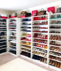 Master walk in closet with vanity shoe shelves 52 Ideas for 2019 Closet Shoe Storage, Closet Drawers, Closet Shelves, Closet Vanity, Shoe Closet Organization, Shoe Racks, Office Storage, Custom Closet Design, Walk In Closet Design