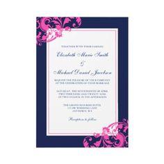 Navy Blue and Pink Flourish Swirls Wedding Personalized Invite