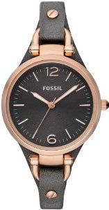 Fossil Women's ES3077 Georgia Smoke Leather and Rose Gold-Tone Stainless Steel Watch: Watches: Amazon.com